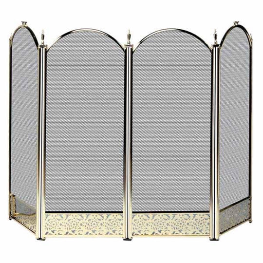 4 Fold Polished Brass Finish Screen with Decorative Filigree - Starfire Direct