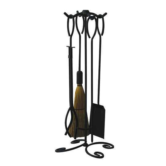 5 Piece Black Wrought Iron Fireset with Ring Handles - Starfire Direct