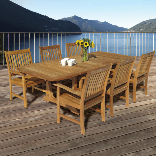 "64-96"" Gala Double Leaf Expansion Teak Table"