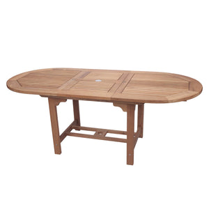 "96-120"" Oval Family Expansion Teak Table"