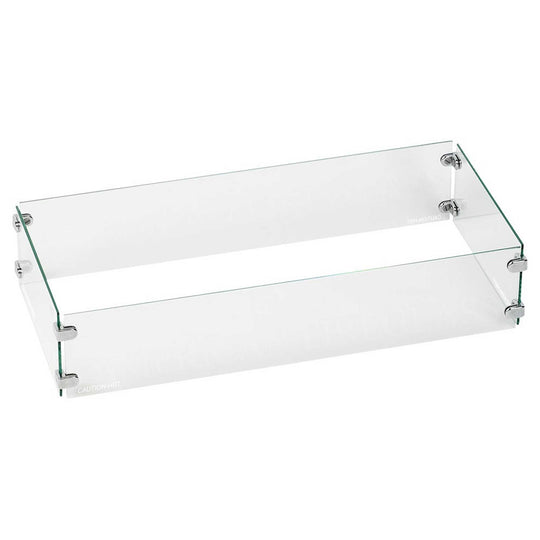 Rectangular Glass Flame Guard for Rectangular Drop-In Fire Pit Pan - Starfire Direct
