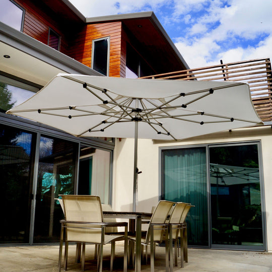 ARTiculatedshade Aspen 13' Hexagon Sunbrella Canvas Umbrella