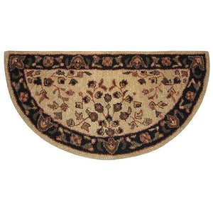 Beige Floral Hand-Tufted Wool Hearth Rug