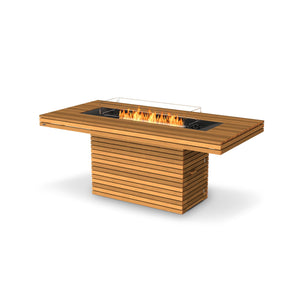 EcoSmart Fire Gin 90 Teak Bar Height Fire Table
