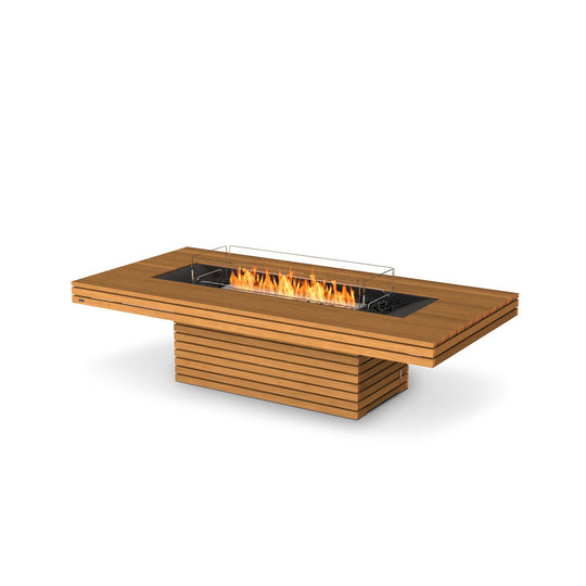 EcoSmart Fire Gin 90 Teak Chat Height Fire Table