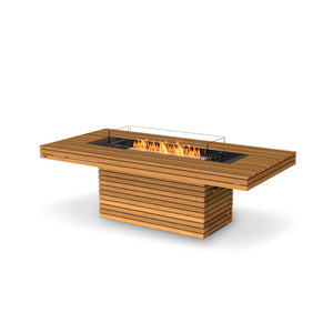 EcoSmart Fire Gin 90 Teak Dining Height Fire Table