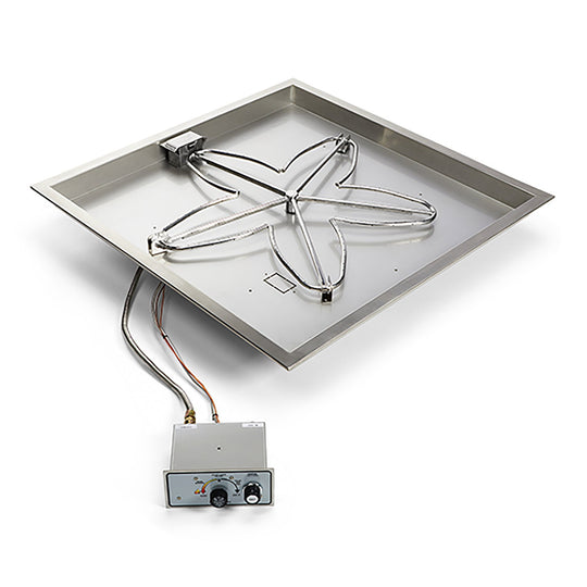 HPC Square Drop-In Push Button Ignition Fire Pit Burner Kit