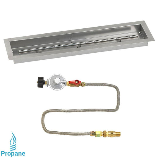 Linear Stainless Steel Drop-In Fire Pit Pan with Kit - Starfire Direct