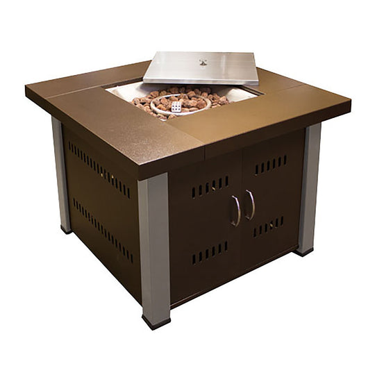 Modern Hammered Bronze and Stainless Steel Fire Pit
