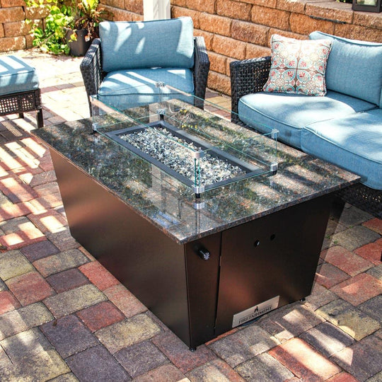 Monaco Fire Table with Brown Granite Top and Glass Wind Guard - Starfire Direct