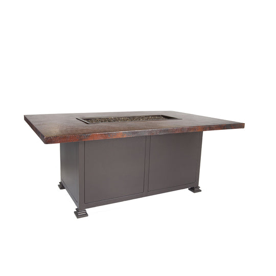 "OW Lee 36"" x 58"" Chat Height Hammered Copper Fire Pit Table"