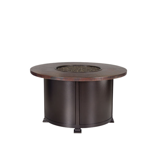 "OW Lee 42"" Round Chat Height Hammered Copper Fire Pit Table"