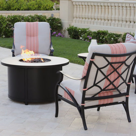 "OW Lee 42"" Round Occasional Height Elba Fire Pit Table"