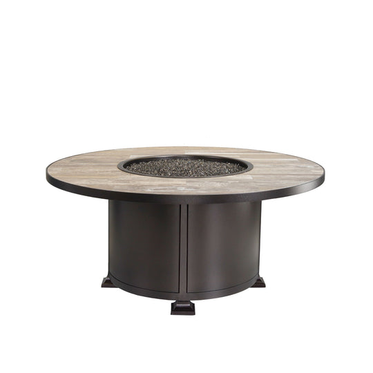 "OW Lee 54"" Round Chat Height Vulsini Fire Pit Table"