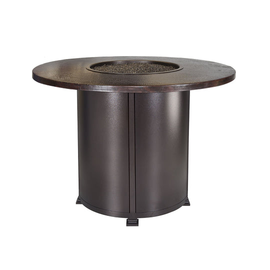 "OW Lee 54"" Round Counter Height Hammered Copper Fire Pit Table"