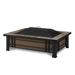 Real Flame Hamilton Rectangle Fire Pit with Natural Slate Tile Top - Starfire Direct
