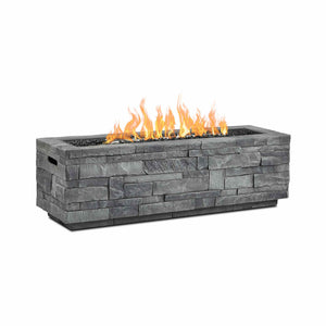 Real Flame Ledgestone Rectangle Gas Fire Table in Gray - Starfire Direct