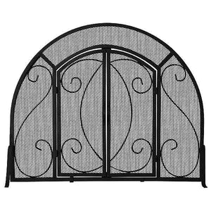 Single Panel Black Wrought Iron Ornate Screen with Doors - Starfire Direct
