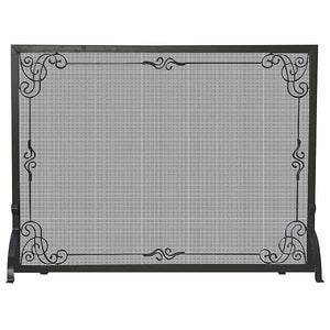 Single Panel Black Wrought Iron Screen with Decorative Scroll - Starfire Direct
