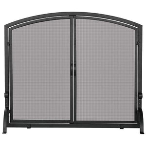 Single Panel Black Wrought Iron Screen with Doors - Large - Starfire Direct