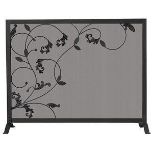 Single Panel Black Wrought Iron Screen with Flowing Leaf Design - Starfire Direct