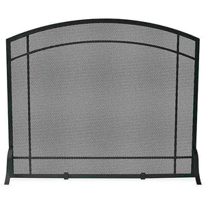 Single Panel Black Wrought Iron Screen with Mission Design - Starfire Direct