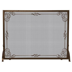 Single Panel Bronze Finish Screen with Decorative Scroll - Starfire Direct
