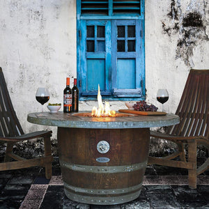 Vin de Flame Estate Wine Barrel Gas Fire Pit Table