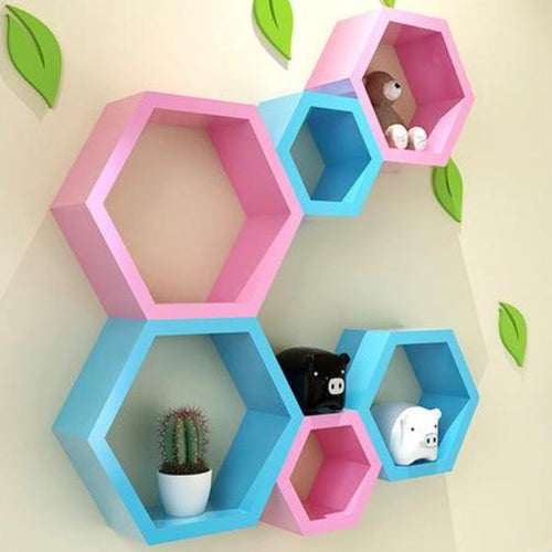 Custom Hexagon Wooden Shelves (Painted)