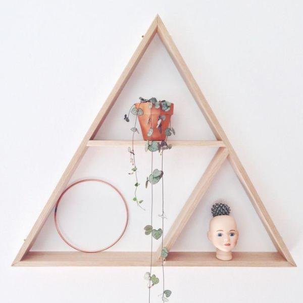 Custom Triangle Wooden Shelves (Stained)