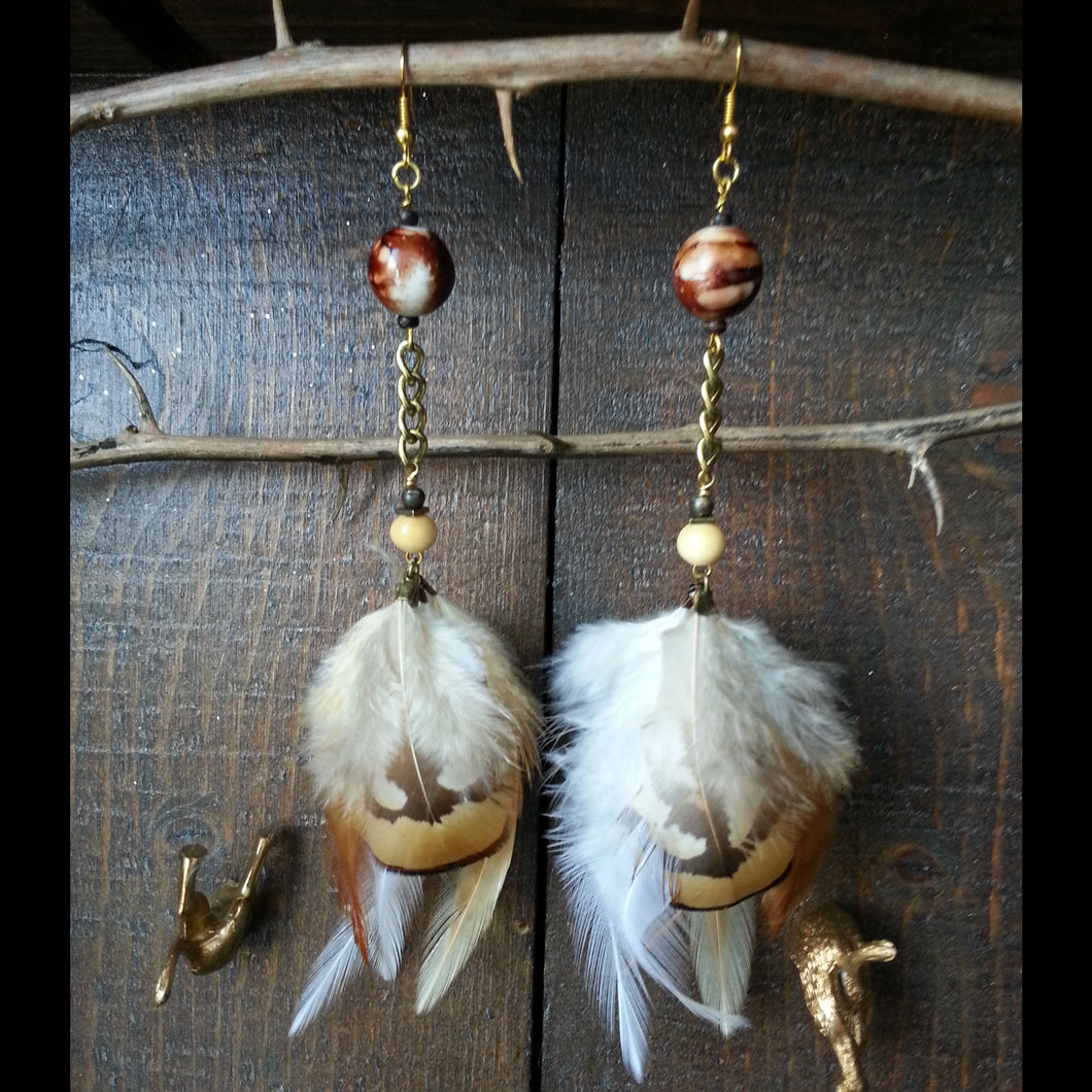 Feather Puff Earrings by EEEvolving