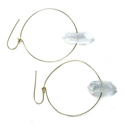 Crystal Quartz Hoop Earrings by Stoneywear