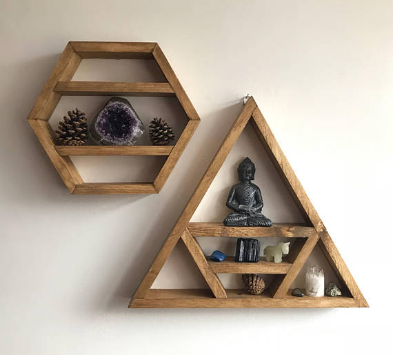 Custom Geometric Wooden Shelves (Stained or Painted)
