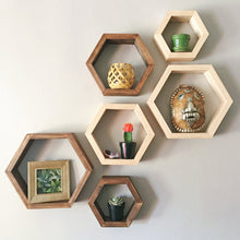 Custom Hexagon Wooden Shelves (Stained)