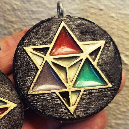 Black & Gold Star Tetrahedron Pendant w/Cosmic Glow by Cosmic Branches
