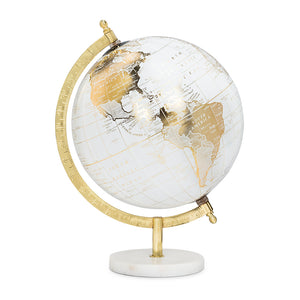 Globe on Stand - White & Gold