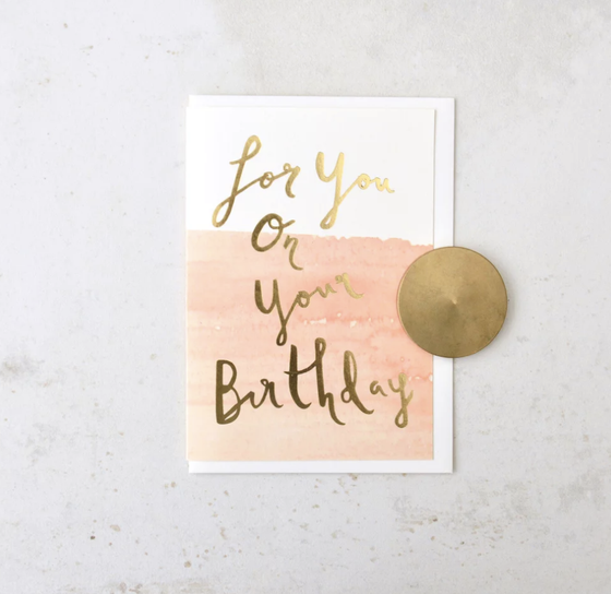 'On Your Birthday' Pink Brushstroke Greeting Card