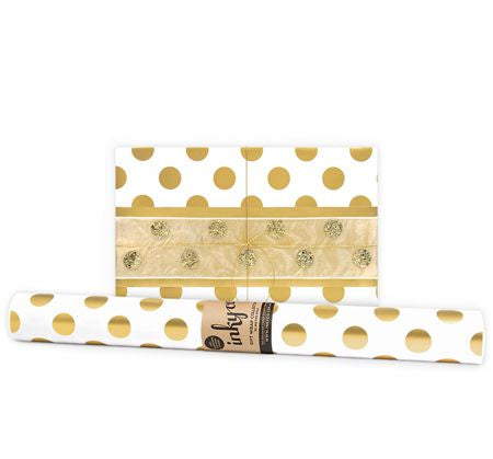 'Large Gold Dot' Gift Wrap (10m Roll)