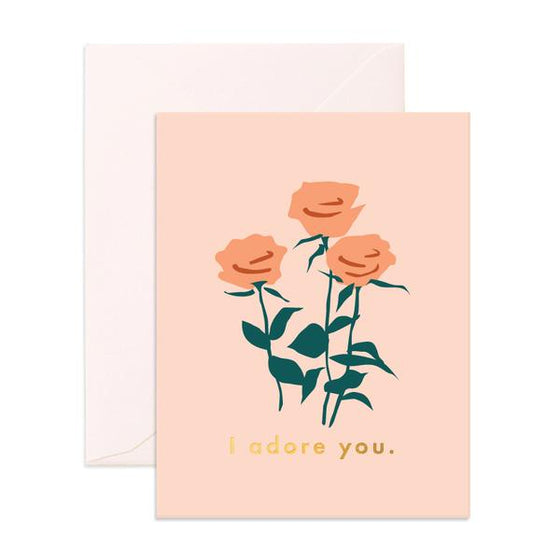 'I Adore You' Roses Greeting Card
