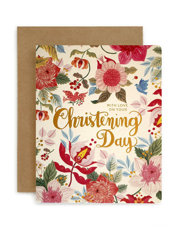 Folk 'Christening Day' Greeting Card