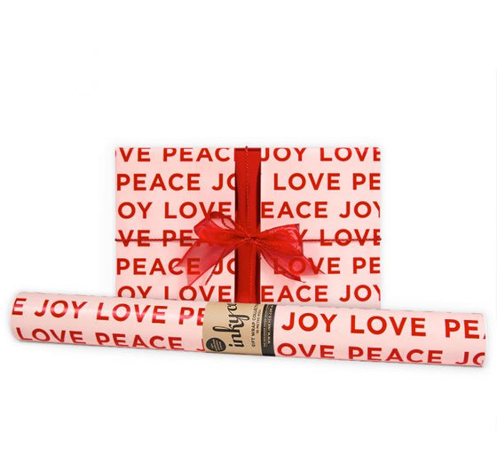 'Peace Love Joy' Red & Nude Gift Wrap (10m Roll)