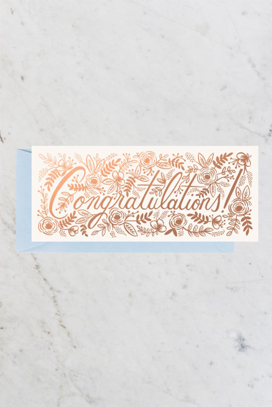 'Congratulations' Floral Long Greeting Card