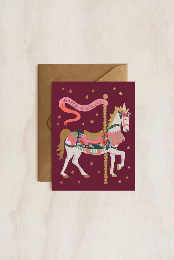 'Happy Birthday' Carousel Greeting Card