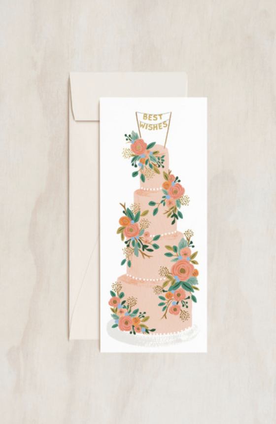 'Best Wishes' Tall Wedding Cake Greeting Card