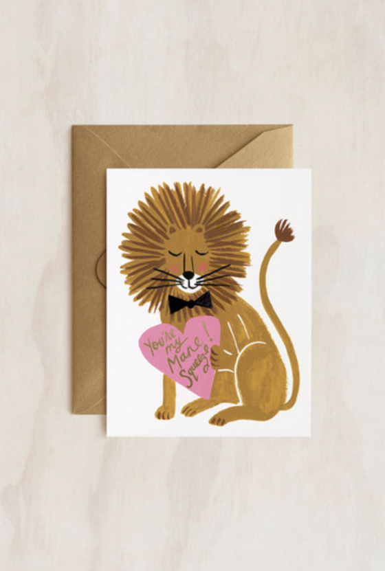 'Mane Squeeze Lion' Greeting Card