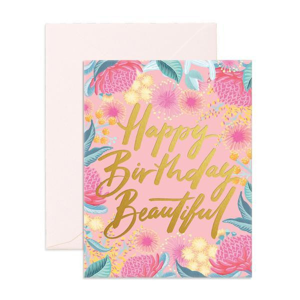 'Happy Birthday Beautiful' Wildflower Greeting Card