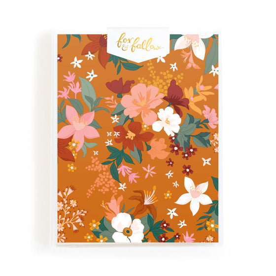 Blank 'Bohemia Tumeric Florals' Greeting Card Boxed Set