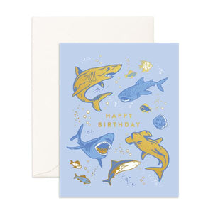Load image into Gallery viewer, 'Happy Birthday' Sharks Greeting Card