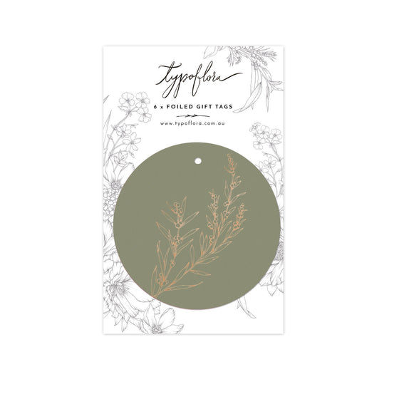 'Wattle' Dark Sage Foil Gift Tags