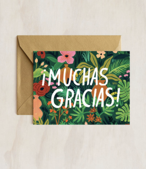 'Muchas Gracias' Floral Greeting Card